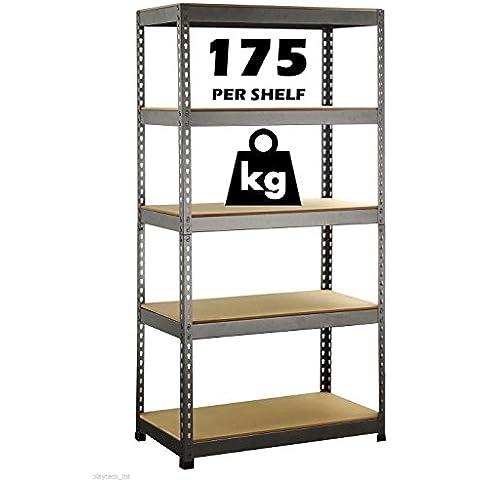 150 cm, in metallo e scaffali a 5 ripiani per magazzino Warehouse-Scaffale robusto playtech_ltd unità