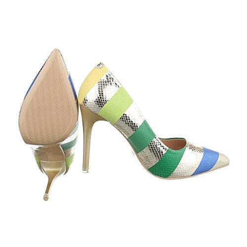 Ital-Design - Scarpe con plateau Donna Gold Multi