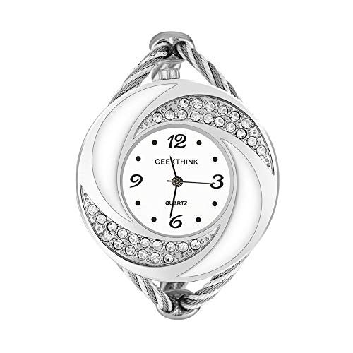 Damen-Armbanduhr, analog, mit Strasssteinen, Quarzimitat, offenes Armband aus Legierung