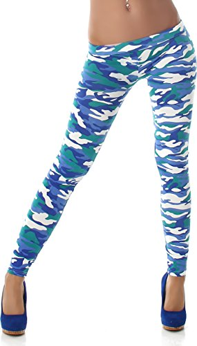 PF-Fashion Damen Leggings Leggins Body Slim Hose Karotte Lang Design Tapered Tarnmuster Blumen Batik Blau 38/40