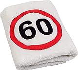 Geschenk-Handtuch zum 60 Geburtstag mit aufgesticktem Verkehrszeichen für Mann und Frau - eine praktische 60 jähriges Jubiläum Geschenkidee - ein dauerhaft nützliches 60 Jahre...