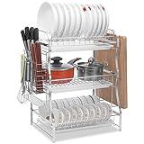 Cucina rack-304 scolapiatti in acciaio inox, portaoggetti, portacoltelli, tubo per bacchette, vassoio d'acqua, con gancio