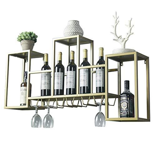 106cm großes Wand-Weinregal mit Stielhalter für Küche, Esszimmer, Bar oder Weinkeller - nordisches Wanddekor Weinschränke - Goldeisenrahmen -