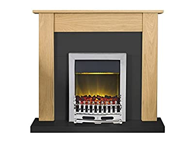 Adam Southwold Fireplace Suite in Oak and Black with Blenheim Electric Fire in Chrome, 43 Inch