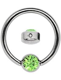 Titanio Anillo en 1,2x 6mm como labio Piercing visillo con piedra en plano 4mm de diámetro, color verde