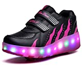 Schuhe Mit Rollen Unisex Doppelrad Rollenschuhe Skateboard LED Leuchtet Sohle Leuchtend Sport Lichter blinken Schuhe Räder Schuhe Turnschuhe mit 2 Rollen Skate Shoes Kinder Jungen Mädchen