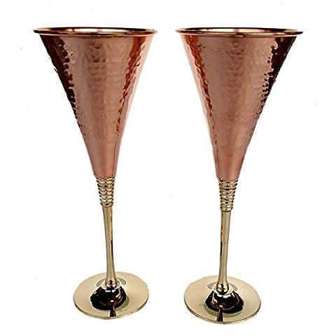 Rastogi artigianali in rame puro bicchiere di vino tavola bar hotel ristoranti da whisky Cocktail calice vino, (2pezzi)