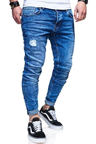 behype. Herren Destroyed Jeans-Hose 80-0100 Hellblau 33/32
