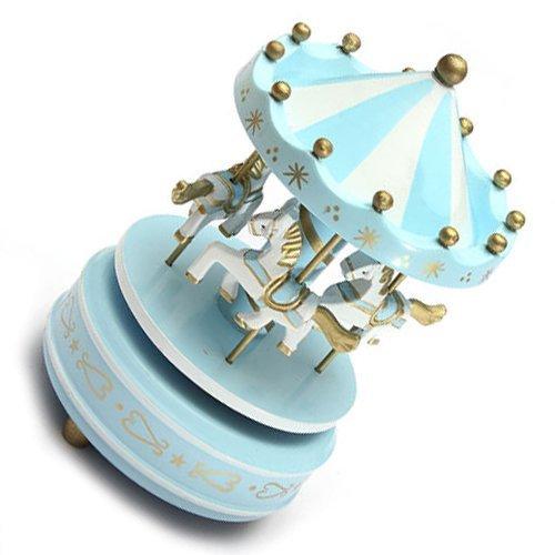 carousels–arpoadormusical Carrusel Caballo Carrusel de Madera Caja de música juguete niño bebé luz azul juego