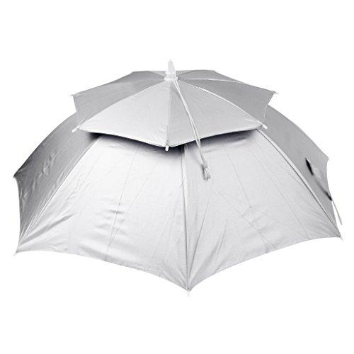 MagiDeal Faltbare Sonnenschirm Regenschirm Hut für Sport Angeln Camping Kopfbedeckung - Silber