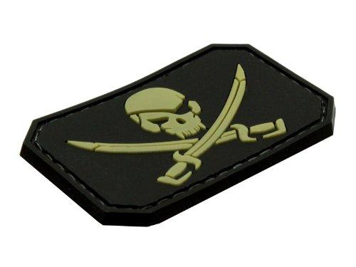 Preisvergleich Produktbild BE-X 3D Rubber Patch / Abzeichen - Jolly Roger - aus Hartgummi, mit Klett - 5 x 3cm (schwarz)