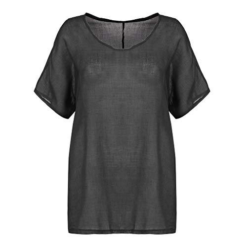 TITIU Damen Basic Sommer T-Shirt Tops Kurzarm Fledermausärmel Bluse Tank Top Weste Tee Oberteil(F-Dunkelgrau,EU-48/CN-3XL) (Star Trek-kragen-shirt)