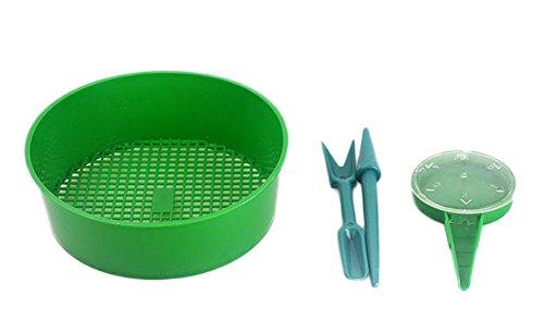 4 herramientas Outflower para plantar, dial sembrador de semilla, colador de tierra, trasplantador y espátula de jardinería (verde)
