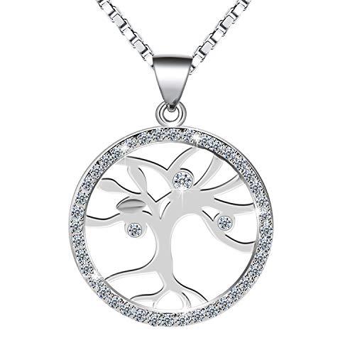 Kette Damen, Amilril Lebensbaum Anhänger Halskette, 925 Sterling Silber 5A Zirkonia, Weihnachtsgeschenke Geschenke zum Geburtstag Jubiläum Schmuck