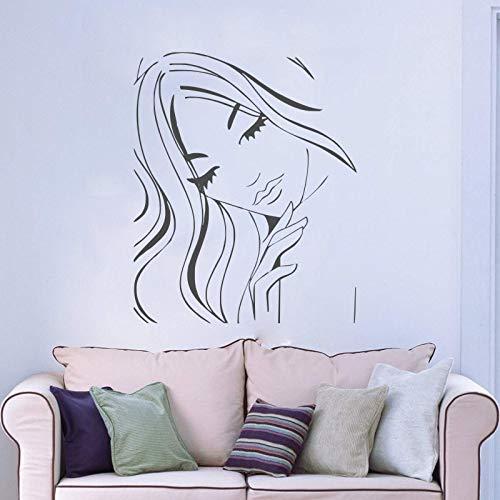 jiuyaomai Schönheitssalon Wandaufkleber Weiche Frau Gesicht Wandtattoo Home Fashion Dekorieren Salon Mädchen Serie Wandbilder Neu Wandbilder 57x73 cm