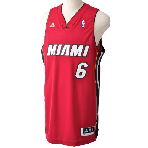 adidas NBA Miami Heat Swingman Basketball Lebron James and Away Trikot, rot, UK: 56-58 XL rot - rot