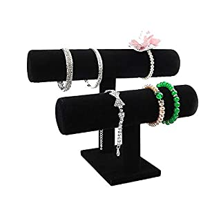Sobotoo Black Velvet T-Bar Jewelry Display Stand Rack Organizer for Bracelet Watch Necklaces (2 tiers)