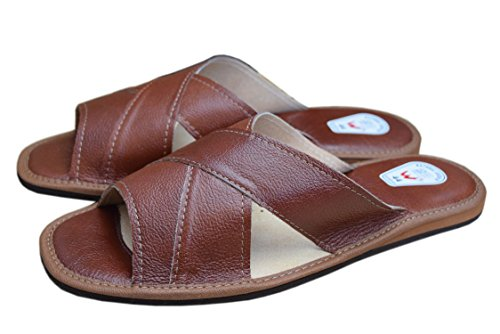 WOJCIAK  Genuine Soft Calf Leather Slippers Sandals Flip-flop, Sandales pour homme Noir noir Noir - Cognac