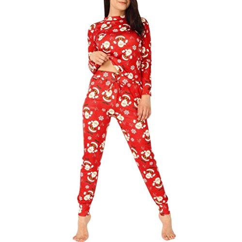 Damen Weihnachten kleidungsset FORH Frauen Rot Santa Muster Gedruckt Sweatshirt blusen Modisch langrm T-shirt tops mit lang bequem Hosen Casual Sportbekleidung Sets (Rot, (Für Kostüme Santa Anzug Klassische Erwachsene)