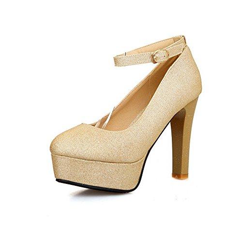 balamasa Mesdames paillettes High-Heels imitation cuir pumps-shoes Doré