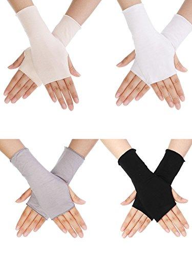 Bememo 4 Paar UV Schutz Handschuhe Handgelenk Länge Sonnen Block Fahren Handschuhe Unisex Fingerlose Handschuh, 4 Farben