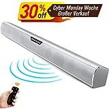Soundbar Für Tv Geräte 2 Hochtöner Bluetooth lautsprecher und mit 4 Lautsprecher mit Fernbedienung Surround-Sound Schwerer Bass Hohe Tonqualität Heimkino Party Musik (Silber)