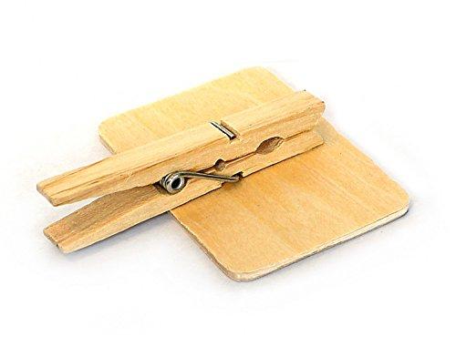8 x Klammer Clip mit Memotafel im Set 7 x 5 cm aus Holz zur Beschriftung mit Kreide, Tisch Memo Schildchen Namensschild Platzschild Notizen - 2