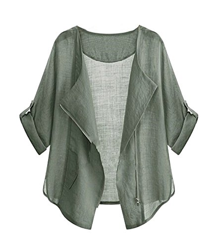 SaiDeng Donna Elegante Zip Up Drape Anteriore Breve Blazer Annata Cappotto Giacca Verde