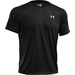 Under Armour Mens Tech Short Sleeve T-Shirt, Black/White, Medium