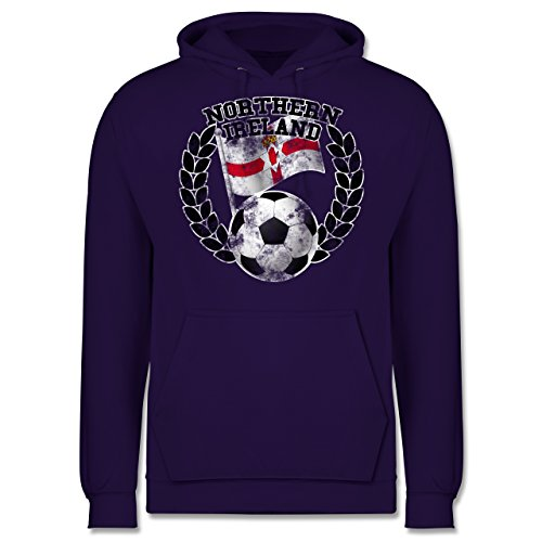 EM 2016 - Frankreich - Northern Ireland Flagge & Fußball Vintage - Männer Premium Kapuzenpullover / Hoodie Lila