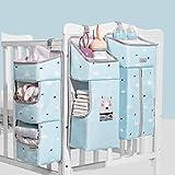 Sunveno Krippen-hängender Organisator Multifunktions Wasserdichter Wickelaufhänger für Babybetten, Hängende Aufbewahrungstasche 3 in 1 Abnehmbar, Baby Closet Organizer Portable, Blau