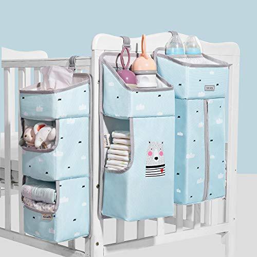 Sunveno Windel Lagerung für Kinderzimmer Babybett Lagerung Windeln hängenden Korb Wickeltisch-Organizer für Windeln und Wickelzubehör Baby-Windel-Organizer mit Herausnehmbaren Trennwänden (Blau) - Und Wickeltische Babybetten