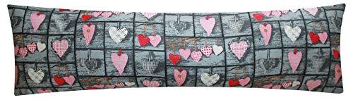 Mako-Satin Seitenschläferkissen Bezug 40x145cm - Love Liebe Herzen im Landhaus Style - Öko-Tex 100% Baumwolle Stillkissenbezug (SB-358-1-MS)