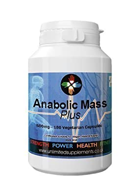 Anabolic Mass PLUS.. 500 mg per vegan capsule x 180 Capsules. Promotes Extreme Muscle Development Growth, strength and Gains. Ensuring Anabolic state. Non Steroid. Ideal for individuals involved in any intense weight and or exercise, bodybuilding training