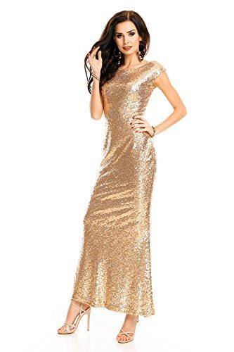 Mayaadi langes Paillettenkleid für Partys Cocktailabende und festliche Anlässe WJ-7259 Gold S - 2