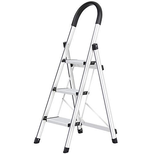 WolfWise Trittleiter, Alu Sicherheits Stehleiter,3 Stufen, Tragbare Faltet Anti-Slip Mit Gummihandgriff belastbar bis 150 kg, Silber Haushalt Stufenleitern
