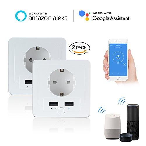 Intelligente Schuko Steckdose mit 2 X USB, Smart WLAN Steckdose (DE) Funktioniert mit IOS und Android Smartphones, mit Amazon Alexa Echo/Echo Dot/Google Home (2 Stück)