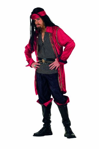 XL - Herrenkostüm Pirat 5-teilig (Hose-Gürtel-Stiefel-Haar Band) (Pirat Kostüm Mann)