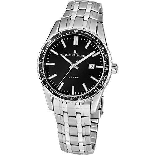 Jacques Lemans Liverpool Homme 44mm Quartz Cadran Noir Montre 1-2022G
