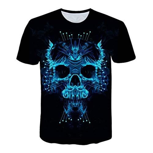 rt Herren Lustig Horror Totenkopf 3D Print Oberteile Hemd Männer Lässige Kurzarm T-Shirts Round Hals Hemden Tops ()