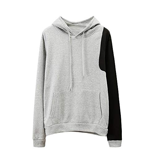 Rosennie Herbst Langarm Tasche Sweatshirt Sweatjacke mit Kapuze Langarm Regular Fit Strick Pullover Modern Fit Top Bluse T-Shirt Hoodie Sweater Casual Winter Jacke Training Trikot (Grau C,XL)