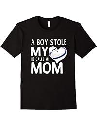 A Boy Stole My Heart He Calls Me Mom Rugby Moms Gift T-Shirt Herren, Größe M Schwarz