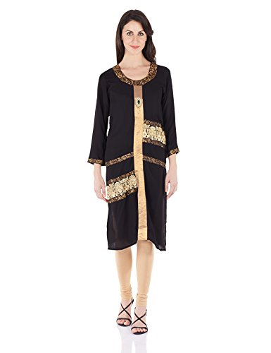 Aujjessa Women's Straight Kurta (BATTAURELN6128_Black_L)