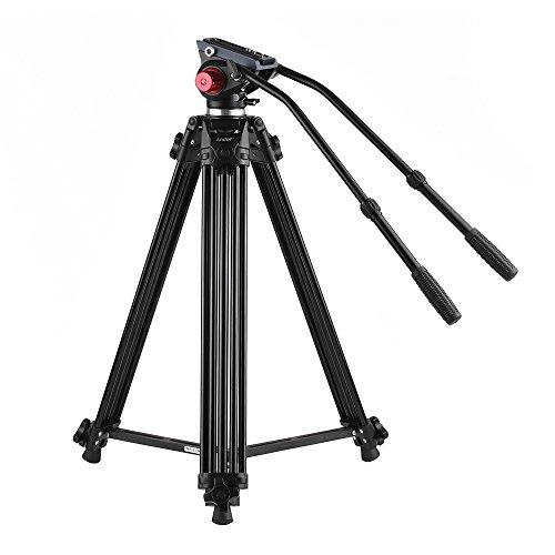Trípode Andoer 170cm Trípode Pro de Cámara Video de Aleación de Aluminio con Doble Manejado Cabeza Fluid placa de zapato rápido 1/4 y 3/8 para Canon Nikon Sony Panasonic DSLR Grabadora DV,Bolsa