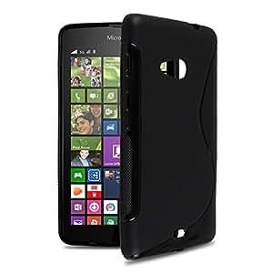 Microsoft Lumia 550 case, Ziaon(TM) Silicone S-Line Hybrid TPU Soft Gel Back Cover Case for Microsoft Lumia 550 - Black