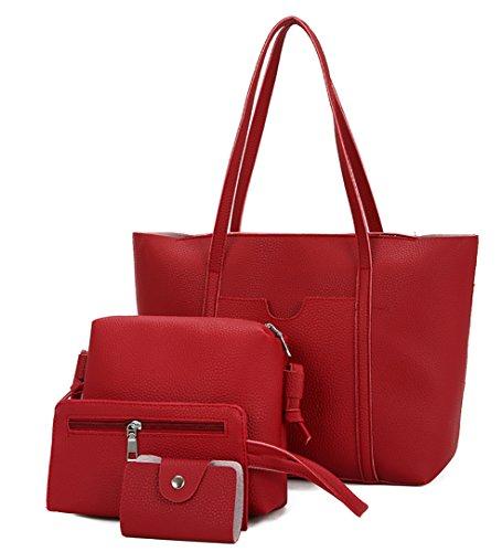 Ghlee Frauen Weiche PU Leder Damen Umhängetaschen Top-Handle Handtasche Tote Handtasche Tasche + Shlolder Tasche + Clutch Bag + Brieftasche 4 Sätze Rot (Italienischen Leder-satchel Weiche)
