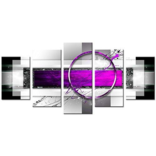 Amosi Art Cuadro Lienzo morado abstracto geométrico dibujo impresión arte lienzo contemporáneo pintura decoración arte moderna Cuadro 5 piezas enmarcado y estirado decoración del hogar para dormitorio oficina