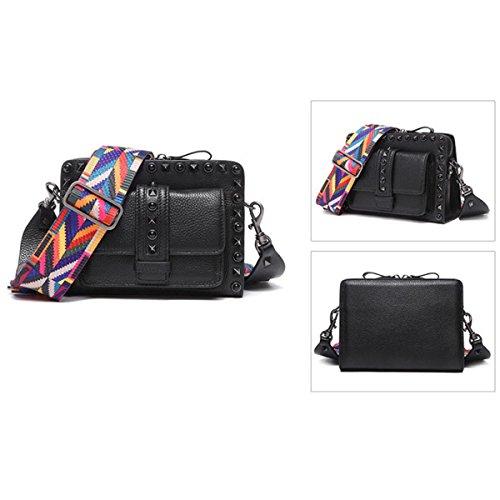 Damen Handytaschen Nieten Leder Mini Tasche Breite Schultergurt Schulter Messenger Bag Black