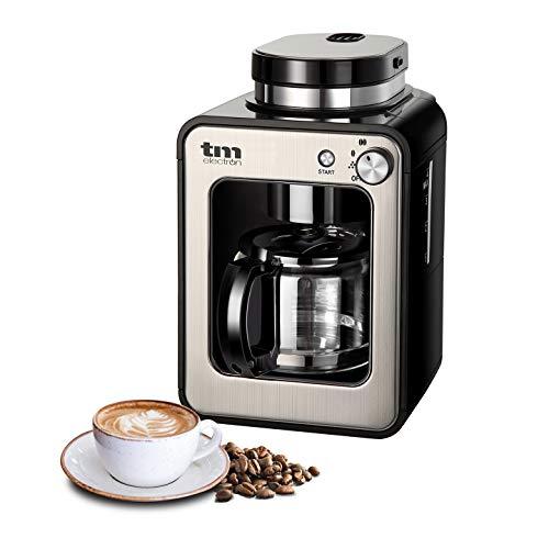 TM Electron TMPCF020S Mini cafetera de Goteo con Molinillo Grano, 4 Tazas, 600W y Filtro Lavable Compatible con café molido, 600 W, Acero Inoxidable, Plata