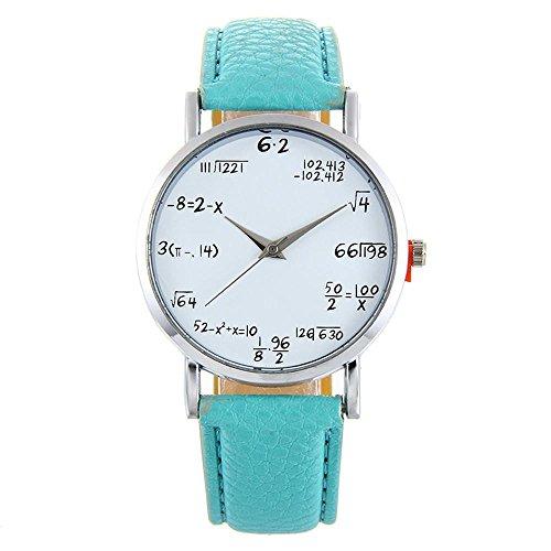 Reloj pulsera mujeres, KanLin1986 fórmula matemática patrón reloj de pulsera divertido, reloj de pulsera de cuero banda de aleación para las mujeres (H)
